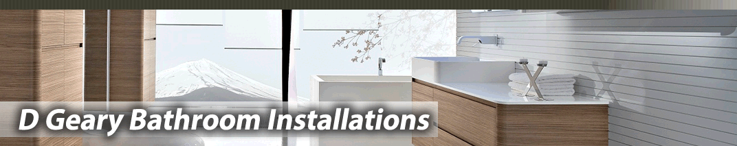 D Geary Installation logo with bathroom suite background
